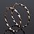 Twisted Gold Black Enamel Hoop Earrings - 6cm Diameter - view 4