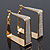 Gold Plated Textured Square Hoop Earrings - 4cm Length