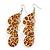 Light Brown/Beige Resin 'Animal Print' Teardrop Earrings In Silver Plating - 9cm Length