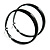 Large Black Enamel Hoop Earrings - 6cm Diameter