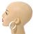 Large White Enamel Hoop Earrings - 50mm Diameter - view 2