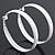 Large White Enamel Hoop Earrings - 50mm Diameter