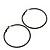 Slim Black Enamel Hoop Earrings - 6cm Diameter - view 3