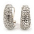 Clear Crystal Creole Earrings In Rhodium Plated Metal - 2.5cm Length - view 8