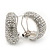 Clear Crystal Creole Earrings In Rhodium Plated Metal - 2.5cm Length - view 3