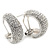 Clear Crystal Creole Earrings In Rhodium Plated Metal - 2.5cm Length