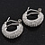 Clear Crystal Creole Earrings In Rhodium Plated Metal - 2.5cm Length - view 10