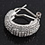 Clear Crystal Creole Earrings In Rhodium Plated Metal - 2.5cm Length - view 6