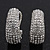 Clear Crystal Creole Earrings In Rhodium Plated Metal - 2.5cm Length - view 5