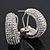 Clear Crystal Creole Earrings In Rhodium Plated Metal - 2.5cm Length - view 11