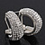 Clear Crystal Creole Earrings In Rhodium Plated Metal - 2.5cm Length - view 4