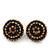 Dark Green/ Citrine Crystal Button Stud Earrings In Black Metal - 2cm Diameter