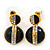 Black Enamel Diamante Dome Shape Drop Earrings In Gold Plating - 2.5cm Length