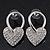 Romantic Crystal 'Heart' Drop Earrings In Silver Plating - 3.5cm Length