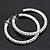 Classic Austrian Crystal Hoop Earrings In Rhodium Plating - 5.5cm D - view 5