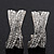 'X' Shape Crystal Creole Earrings In Silver Plating - 23mm Length