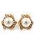 Classic Diamante Faux Pearl Stud Earrings In Gold Plating - 18mm Diameter - view 4