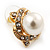 Classic Diamante Faux Pearl Stud Earrings In Gold Plating - 18mm Diameter - view 7