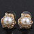 Classic Diamante Faux Pearl Stud Earrings In Gold Plating - 18mm Diameter