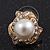 Classic Diamante Faux Pearl Stud Earrings In Gold Plating - 18mm Diameter - view 2