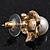 Classic Diamante Faux Pearl Stud Earrings In Gold Plating - 18mm Diameter - view 6