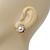 Classic Diamante Faux Pearl Stud Earrings In Gold Plating - 18mm Diameter - view 5