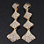 Bridal Ice Clear Crystal Cascade Drop Earrings In Gold Plating - 7cm Length