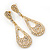 Bridal Diamante Open-Cut Teardrop Earrings In Gold Plating - 6.5cm Length