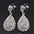 Bridal Clear Diamante Teardrop Earrings In Rhodium Plating - 4cm Length