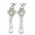 Bridal Clear Cz Chandelier Drop Earring In Rhodium Plating - 8cm Length - view 6