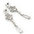 Bridal Clear Cz Chandelier Drop Earring In Rhodium Plating - 8cm Length - view 9