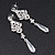 Bridal Clear Cz Chandelier Drop Earring In Rhodium Plating - 8cm Length - view 5