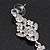 Bridal Clear Cz Chandelier Drop Earring In Rhodium Plating - 8cm Length - view 4