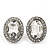 Small Oval Clear Glass Stud Earrings In Silver Plating - 2cm Length