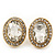 Small Oval Clear Glass Stud Earrings In Gold Plating - 2cm Length - view 2