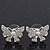 Rhodium Plated Clear Swarovski Crystals 'Butterfly' Stud Earrings - 2cm Length