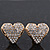 Gold Plated Crystal 'Te Amo' Heart Stud Earrings - 1.5cm