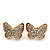 Gold Plated Swarovski Crystal 'Alegria' Butterfly Stud Earrings - 1.5cm