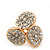Gold Plated Crystal 'Trinity Circles' Stud Earrings - 1.5cm - view 6