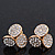 Gold Plated Crystal 'Trinity Circles' Stud Earrings - 1.5cm