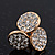 Gold Plated Crystal 'Trinity Circles' Stud Earrings - 1.5cm - view 2
