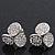 Silver Plated Crystal 'Trinity Circles' Stud Earrings - 1.5cm