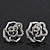 Silver Plated Crystal 'Bella Rosa' Rose Stud Earrings - 1.5cm