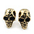 Small Burn Gold Tone Metal 'Skull With Lighting' Stud Earrings - 14mm Length