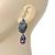 Swarovski Crystal 'Leaf' Purple Simulated Pearl Drop Earrings In Gun Metal Finish - 5.5cm Length - view 2