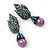 Swarovski Crystal 'Leaf' Purple Simulated Pearl Drop Earrings In Gun Metal Finish - 5.5cm Length - view 7