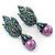 Swarovski Crystal 'Leaf' Purple Simulated Pearl Drop Earrings In Gun Metal Finish - 5.5cm Length - view 3