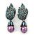 Swarovski Crystal 'Leaf' Purple Simulated Pearl Drop Earrings In Gun Metal Finish - 5.5cm Length