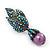 Swarovski Crystal 'Leaf' Purple Simulated Pearl Drop Earrings In Gun Metal Finish - 5.5cm Length - view 4