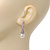 Bridal Clear Crystal Faux Pearl Drop Earrings In Silver Plating - 3.5cm Length - view 2